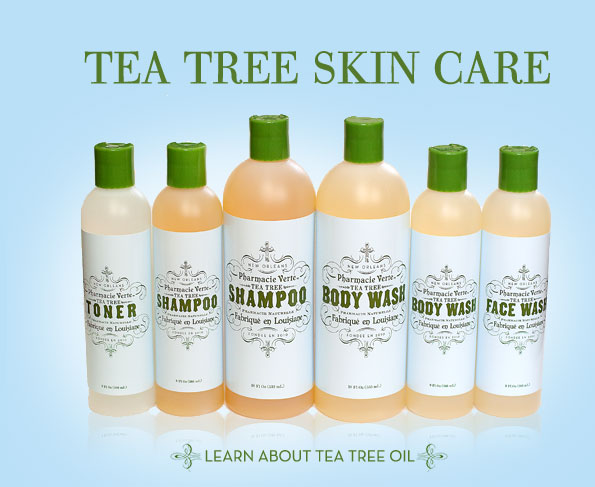 Tea tree skin care products: toner, shampoo, body wash, and face wash